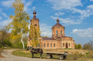 Rural landscape with old church