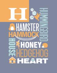 Letter H words typography illustration alphabet poster design