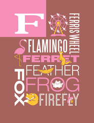 Letter F words typography illustration alphabet poster design