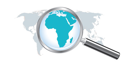 World map countries with Africa magnified by loupe