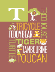 Letter T words typography illustration alphabet poster design