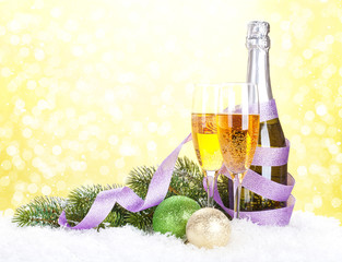 Champagne and christmas decor