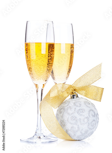 canvas print picture Two champagne glasses and christmas decor
