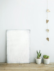 Scandinavian style home decoration. poster with succulents