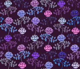 Dark seamless pattern with cold hues colorful roses
