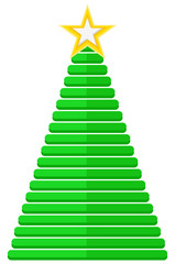 Striped Christmas Tree with Golden Star