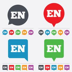 English language sign icon. EN translation.