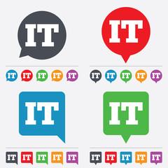 Italian language sign icon. IT Italy translation