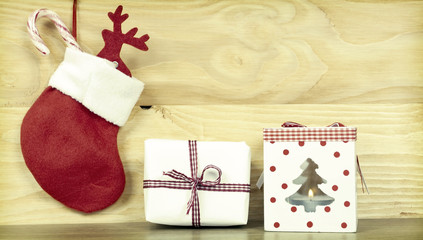 Christmas decorationson wooden background