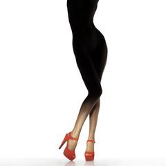 Slim female legs in red shoes