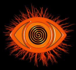 Eye icon with spiral and electrical effect in orange on black