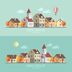 Flat design autumn urban landscape