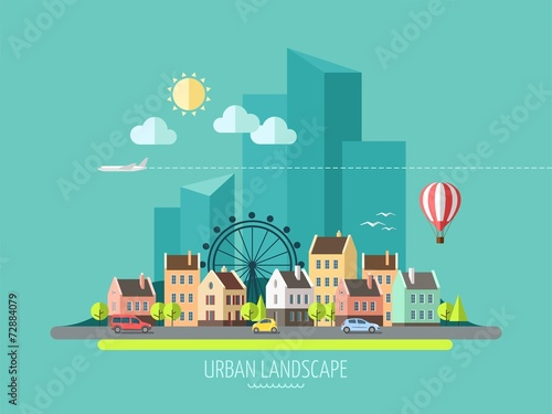 Płaska konstrukcja miasta krajobraz.