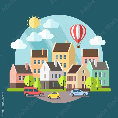 Fotobehang Groen blauw Flat design urban landscape illustration