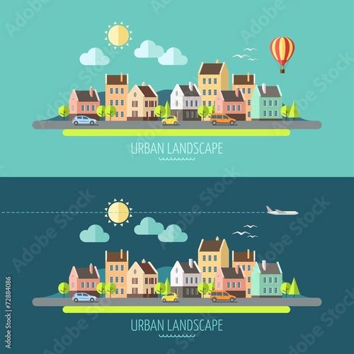 Płaska konstrukcja krajobrazu miejskiego