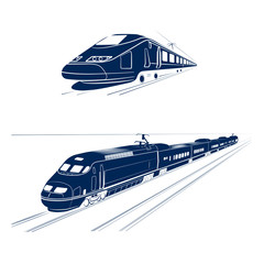 silhouette of the high-speed passenger train
