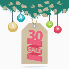 30 percent reduction Christmas sale label
