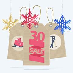 Sale labels for a Christmas sport sale