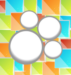 Abstract circle bubble, colorful square background