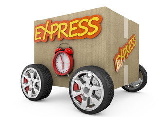Cardboard box with wheels - express concept