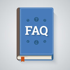 FAQ book illustration in flat style. EPS10 scalable vector.
