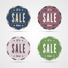 Vintage sale time badges. Vector illustration in EPS10.