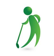 Golf player green figure logo image vector icon