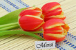 """""""Merci"""" card (thank you in French), with red and yellow tulips"""