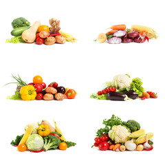 fresh vegetables - collage isolated on a white background