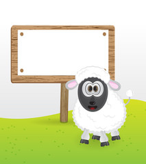 cute sheep with blank text messege