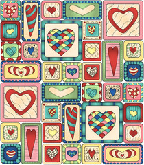 Seamless pattern original drawing doodle hearts.