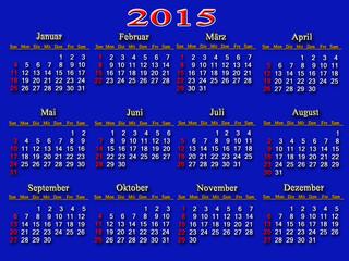 blue calendar for 2015 year
