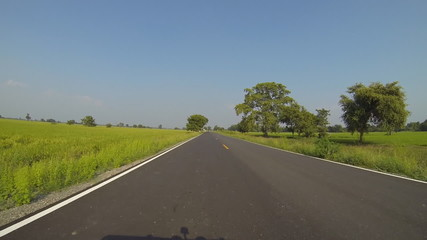 Driving in the meadow, Thailand. Time Lapse