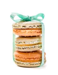 French desserts Macaron. Isolated on white background