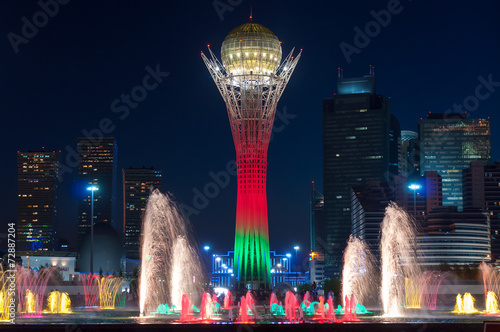 Bayterek Tower and  fountain show at night - 72887204