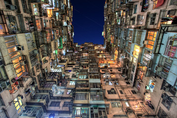 Old Colorful Apartments in Hong Kong
