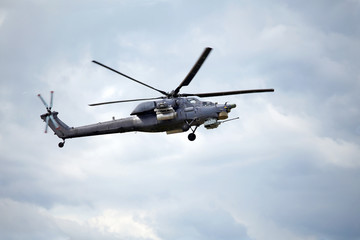 Combat helicopter in flight