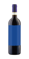 Red wine bottle isolated with blank label.