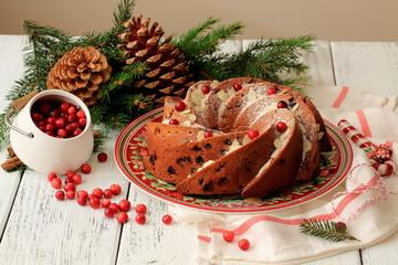 Рождественский кекс с клюквой