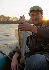 Fisherman is showing a walleye