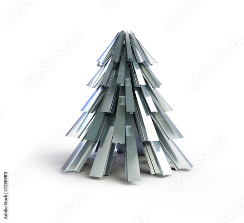 Christmas tree .fir tree metal on a white background - 72889811