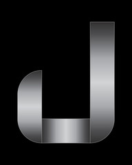 rectangular bent metal font, letter J