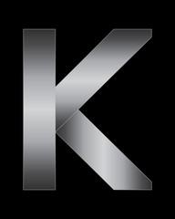 rectangular bent metal font, letter K