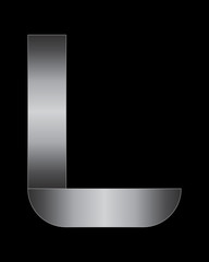 rectangular bent metal font, letter L
