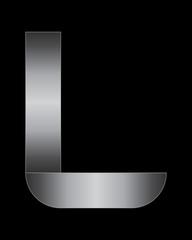 rectangular bent metal font, letter L