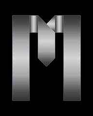 rectangular bent metal font, letter M