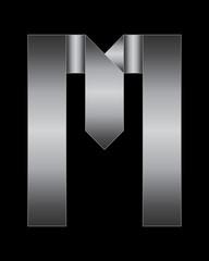rectangular bent metal font, letter M