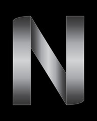 rectangular bent metal font, letter N