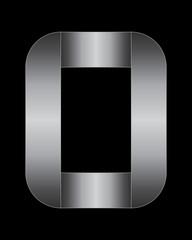 rectangular bent metal font, letter O