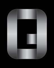 rectangular bent metal font, letter Q